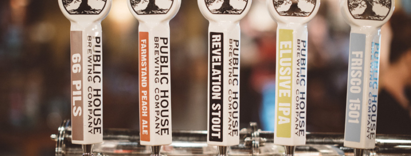 Tap handles at Public House Brewing Company in St.James MO